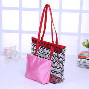 Full Chevron Prints PVC Shoulder Handbag with Interior Pocket Clear Tote Bags