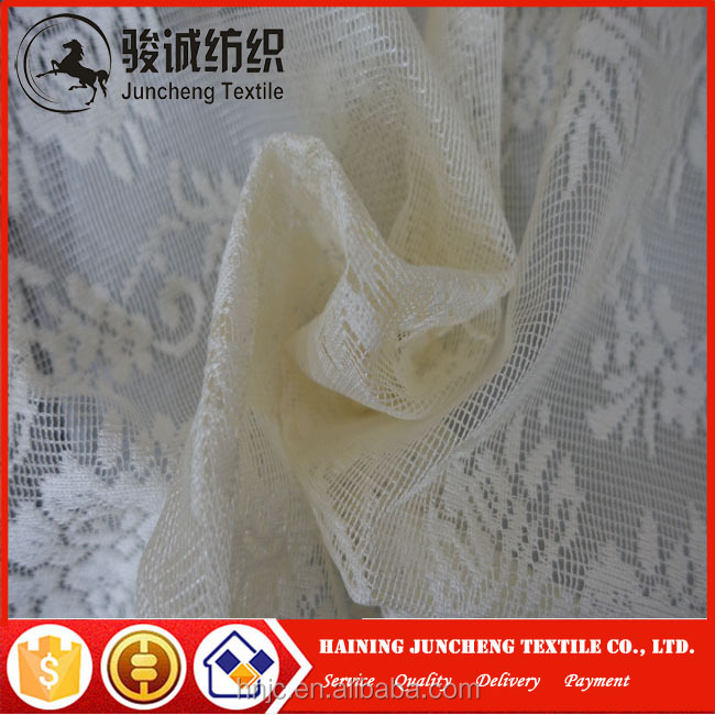 New design continuous white color embroidery lace turkish curtain fabric