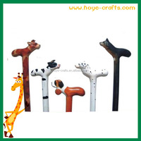 wooden carved animal dog head walking stick for sale 2016