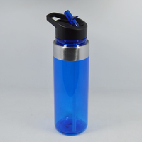 Light blue plastic drinking water bottle WITH STRAW