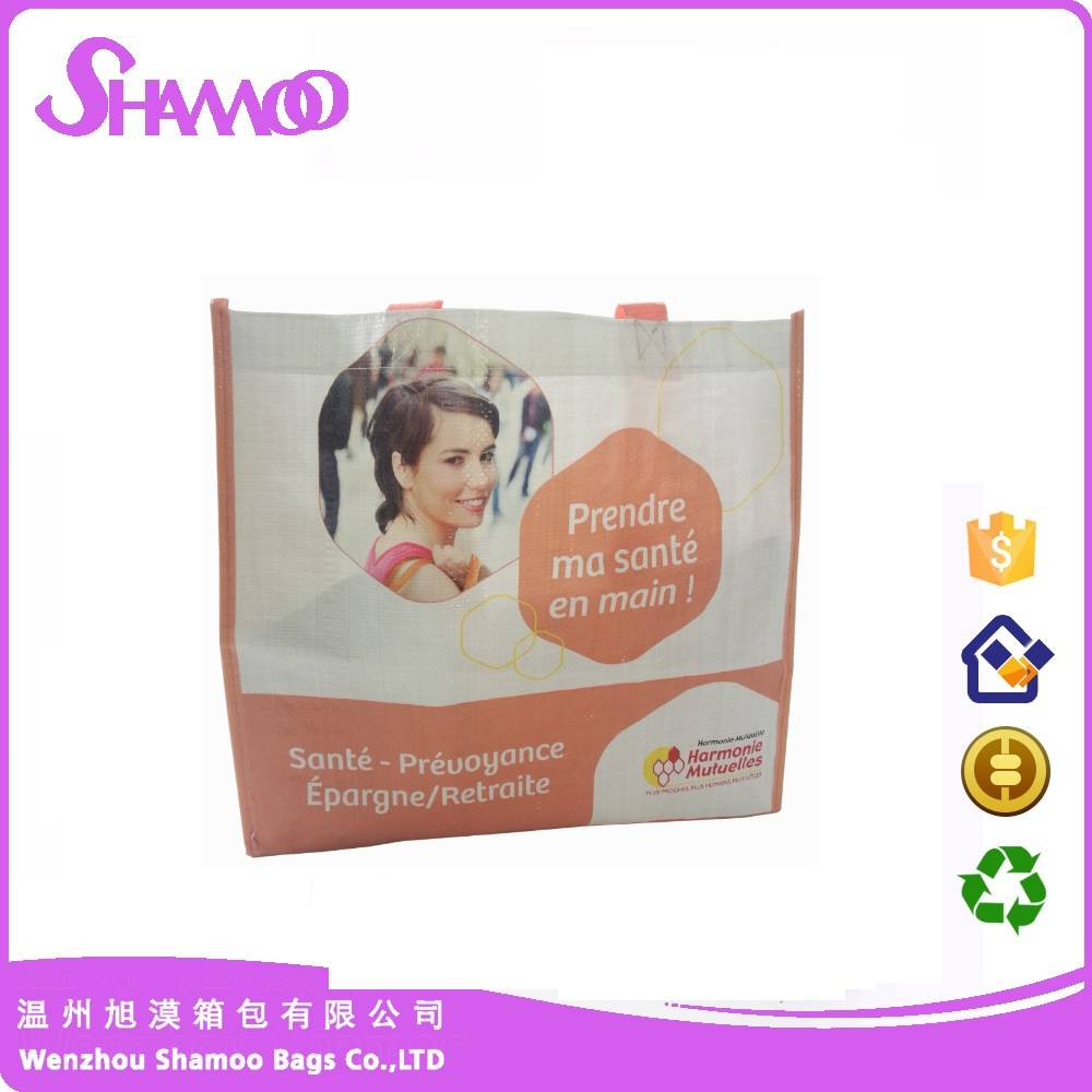 wholesale foldable and reusable laminated pp woven shopping bag