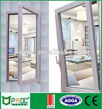 powder coated sound proof and weather double glass low-e aluminum tilt turn window with AS2047
