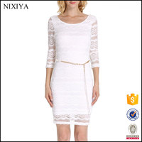 Fashion Short Sleeve White Back Zipper Slim Alibaba Express Lace Dress For Women