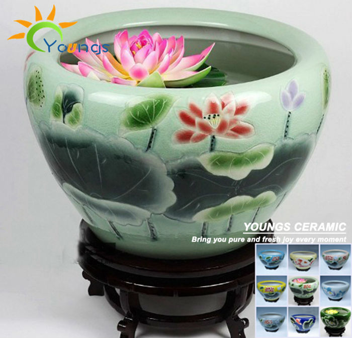 Large Chinese Crackle Ceramic Garden Decorative Fish Pot