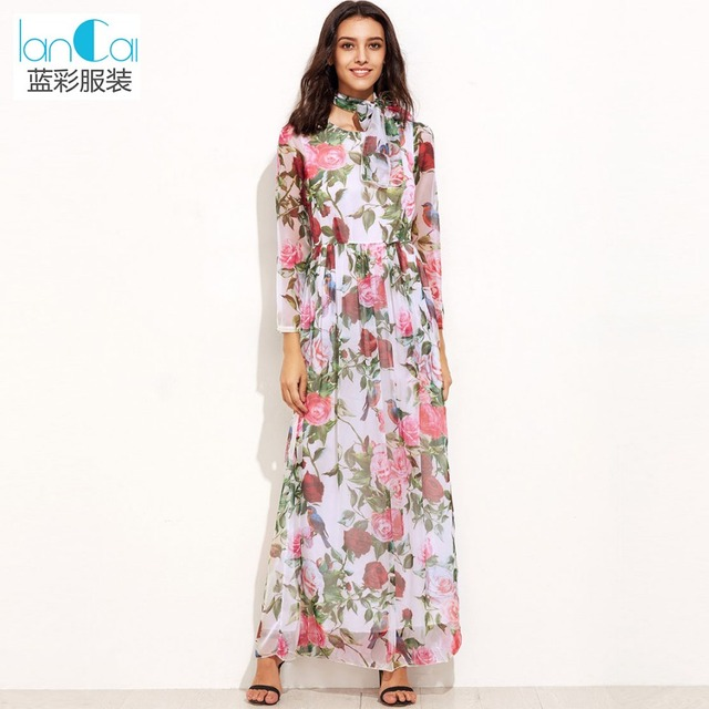 Floral print chiffon evening dress with belt elegant ladies long sleeve rose pattern maxi dress