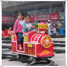 Factory FRP mini used cartoon outdoor lighted track train for sale indoor shopping mall train amusement rides
