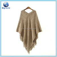 Wholesale women's sweater poncho, 2015 sales oversized fringe fat women aztec pullover sweater poncho