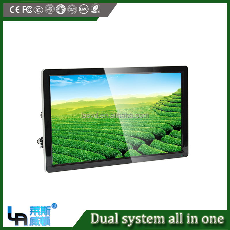 guangzhou 65 inch Wall type computer and android dual system smart and large Touch Screen all in one pc