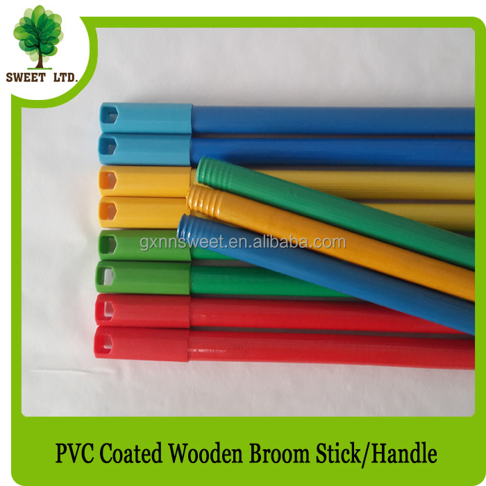 OEM cleaning floor mop handle PVC coated wooden broom stick brush handle