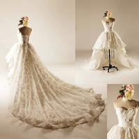 real dress Modest Beaded Pearls A-line Sweetheart Sleeveless Front Short Back Long Bridal Gown Sexy Lace Wedding dresses WD1859