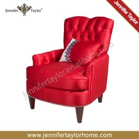 button design poly fabric red color wooden armchair