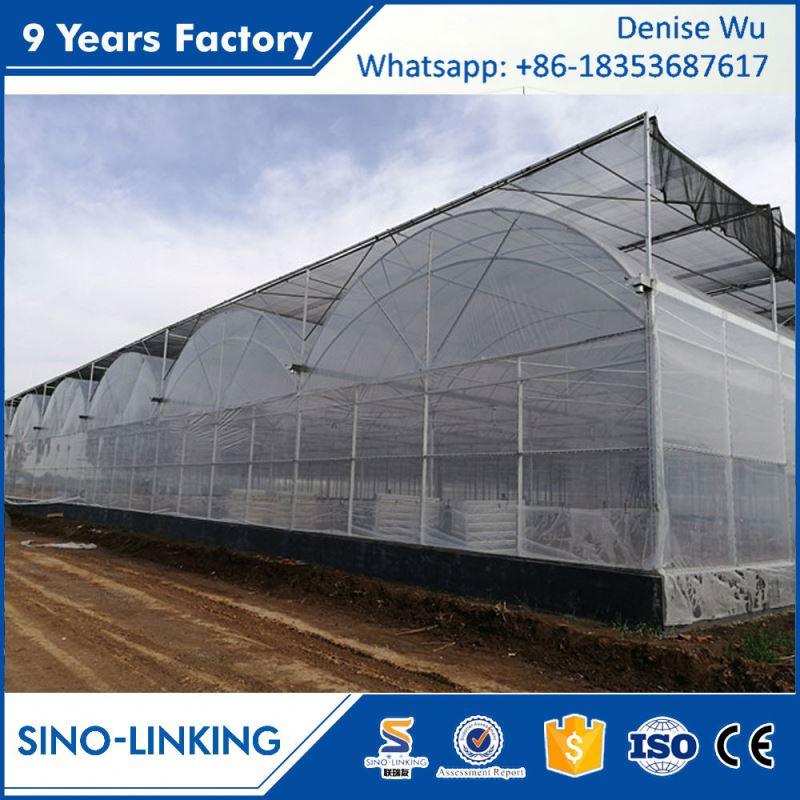 SINOLINKING Low cost UV treated galvanized steel frame greenhouse agricultural