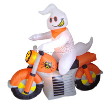 150cm/5ft inflatable white ghost with scarf ride motorcycle for Hallowen decoration
