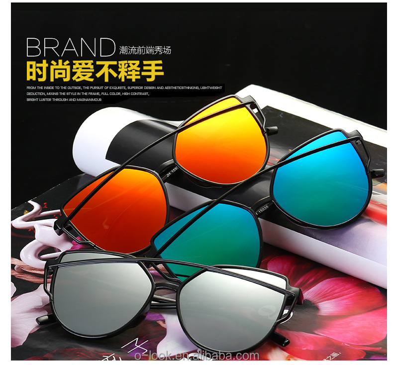 Fashion Mirrored Women Cat eye Sunglasses Classic Brand Designer cat <strong>3</strong> uv400 Sun glasses Twin-Beams eyewear