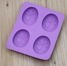 4 Cavities Creative Reusable Oval Flower Tree DIY Silicone Soap Mold Cupcake Baking Mold