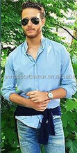 Mens 65% polyester 35% cotton oxford plain sky blue 2015 simple leisure summer shirt