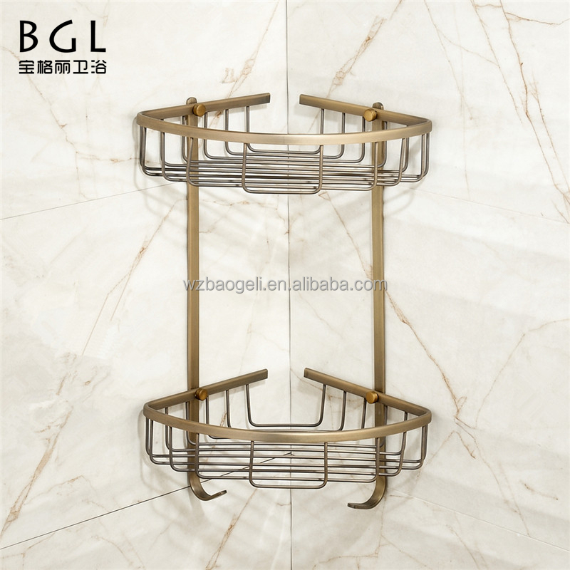 Wall mounted Bathroom sanitary fittings Antique bronze brass hanging storage basket