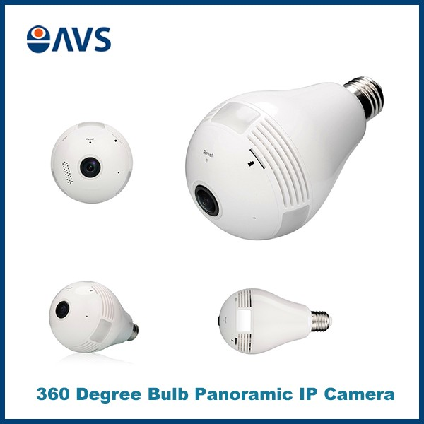 Light Bulb 360 Degree Fisheye Hidden WIFI HD 960P VR IP Camera