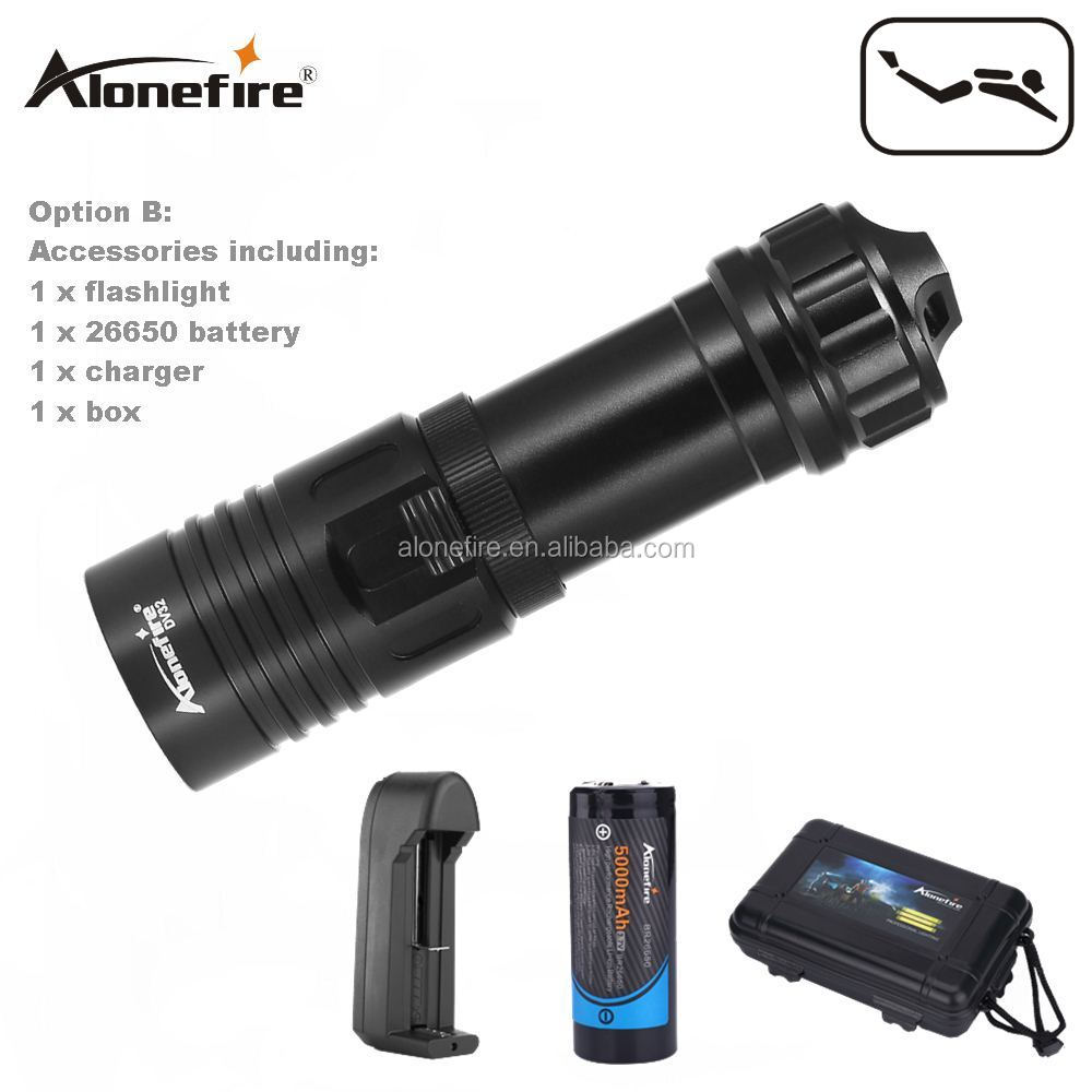 AloneFire DV32 <strong>Diving</strong> flashlight 18650/26650 LED Underwater Flashlights XM-L2 Waterproof dive light Lamp Torch Lights
