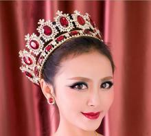 Red Ruby Rhinestone Beauty Full Round Pageant Crowns For Queen