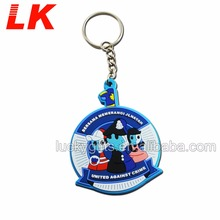 Custom Round Shaped Soft PVC Rubber Key Chain With Metal Ring