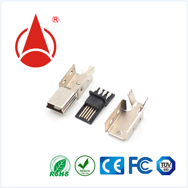Assembled Type 3 Parts for Cable Assembly MINI USB Connector