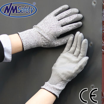 NMSAFETY pu coated anti cutting gloves DMF free