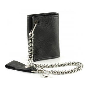 Biker Chain Wallet genuine leather For Men Trifold Leather Anti Theft Lost travel Wallet credit card holder wallet