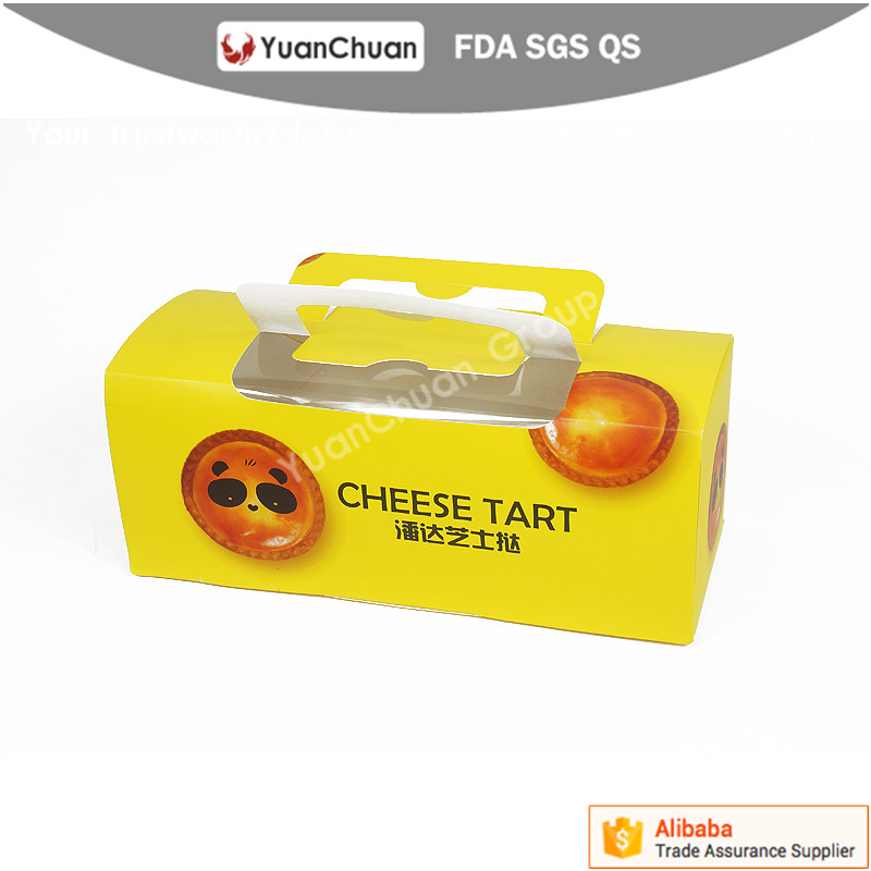 Disposable take away egg tart paper package box with window handle