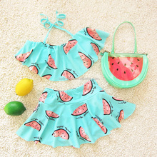 New Summer girls watermelon print girls swimsuit outfit