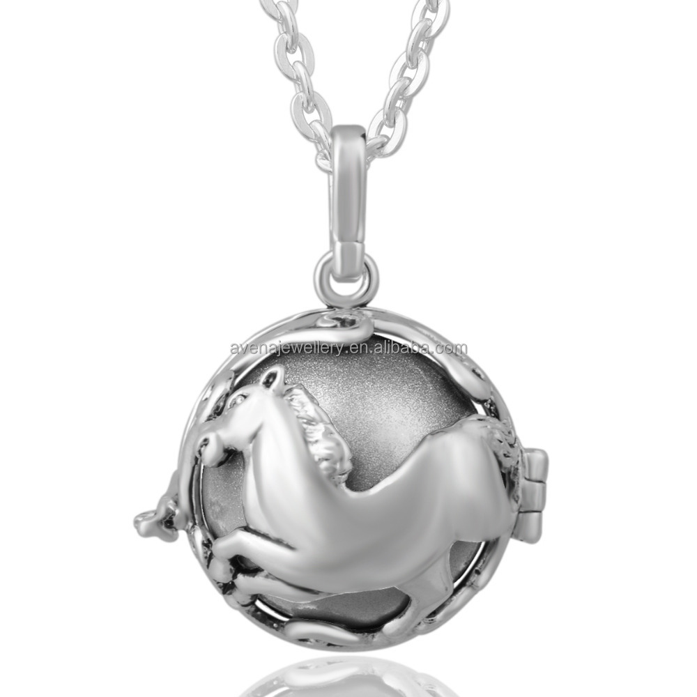 Angel Bola 925 Sterling Silver Horse Locket Engelsrufer Cage Pendants Sound Ball Necklaces Music Bola Jewelry K107