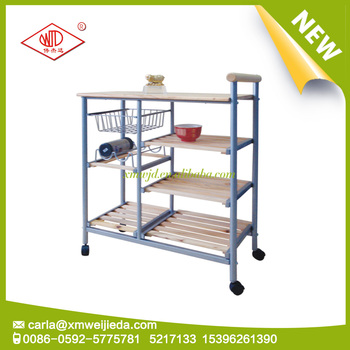 Modern metal trolley dining car with wheels
