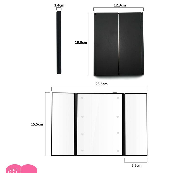 portable full length Small tri-folded led lighted pocket mirror with foldable support