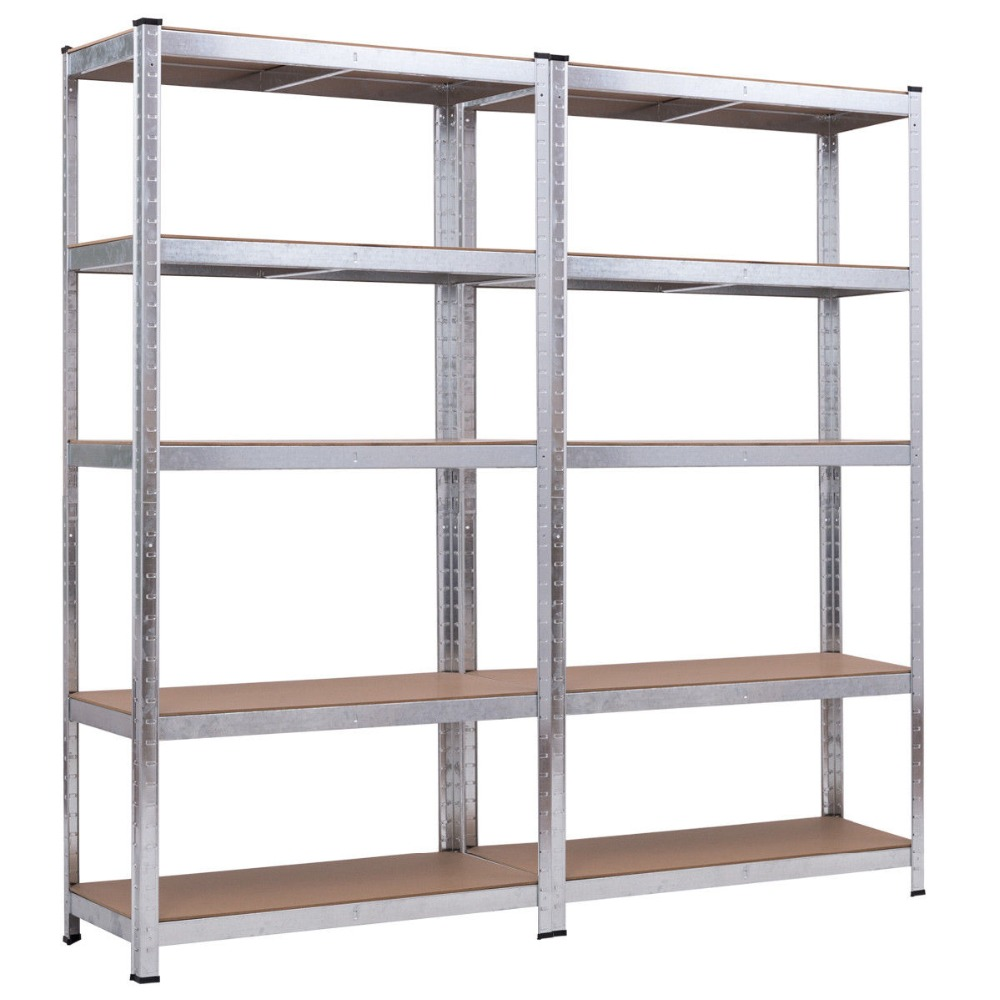 2 Bay Heavy Duty Galvanized Shelving Garage Racking Unit 150kg per <strong>shelf</strong> (5 Levels 1500mm H x 700mm W x 300mm D)