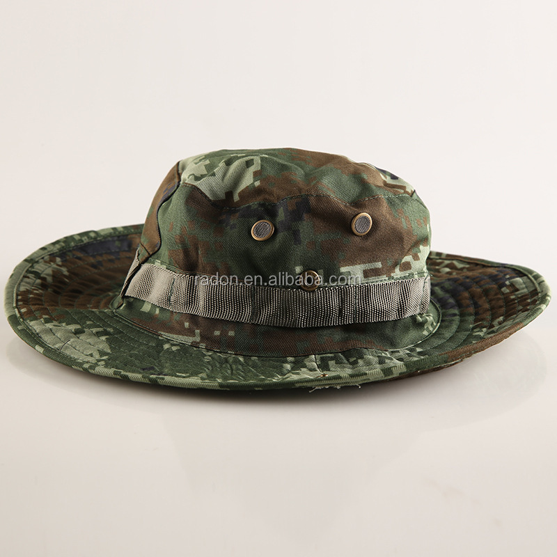 OEM fashion custom digital camouflage printing bucket hats foldable fishmen cap