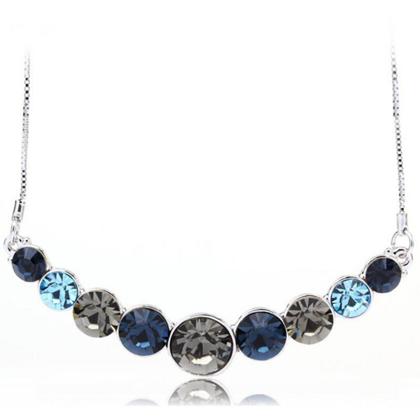 Chrome Nickel Free Platinum Plated Glittering Multi-Cut Crystal Necklace For Girls