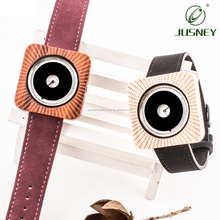 Unisex Square Wood Watch with Leather Strap Couple Watches 2018