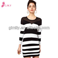 juniors cotton knitted black and white stripe chinese clothing manufacturers