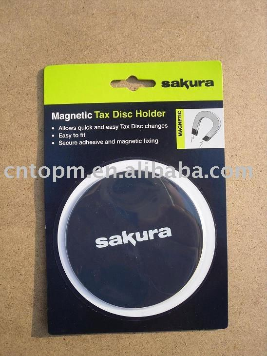 rubber magnetic round tax disc holder with Iron skin and moved adhesive,corrugated paper