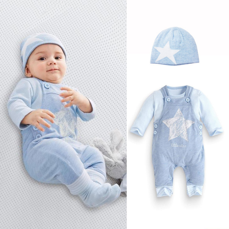 S65497A Infant Child Cotton children clothes+stars hat +overalls pants sets 3pcs