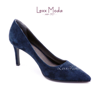 Dark blue suede mature woman high heel shoes