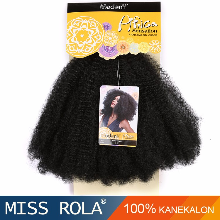 Factory wholesale african synthetic hair extension weave, synthetic kinky curly afro hair weave