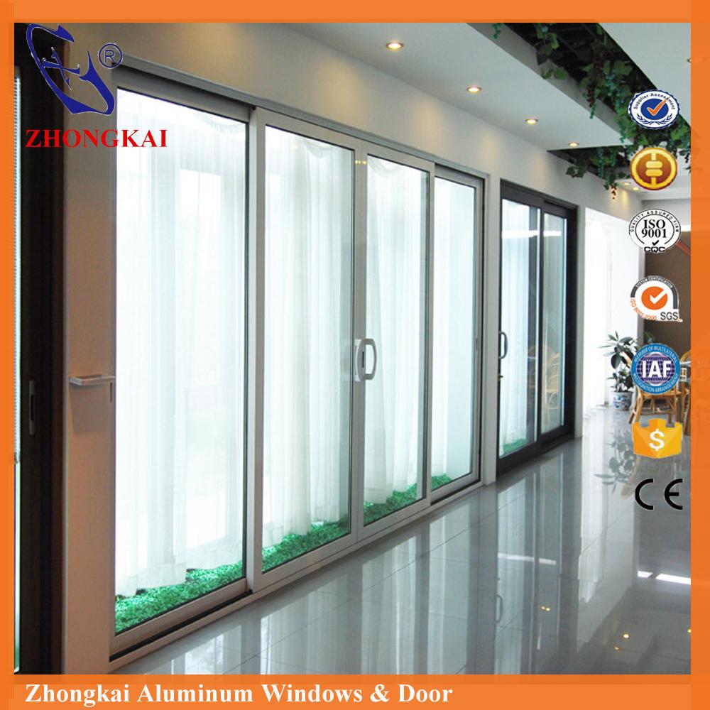 zhongkai de alta calidad puerta de aluminio puerta corredera de cristal con pantalla de seguridad
