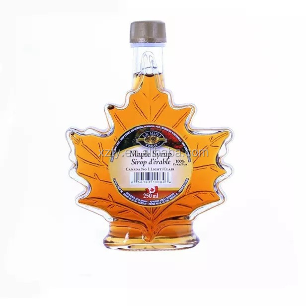 50ml 100ml 250ml maple leaf shape maple syrup glass bottle