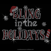 bing in the holidays Christmas hot fix strass motif for garment