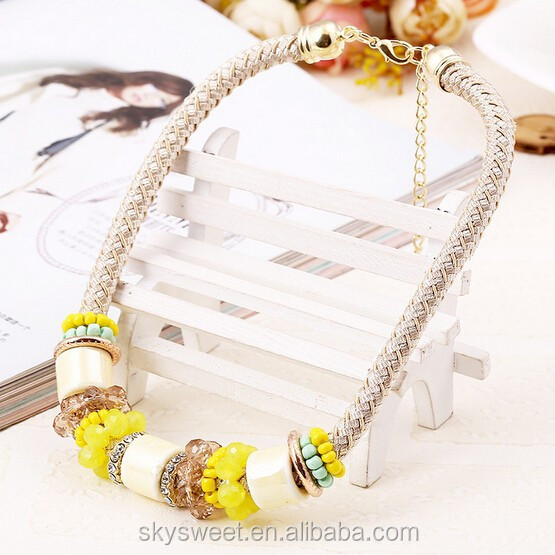 Fashion Colorful Beads Knitting Rope Necklace(SWTAA59)