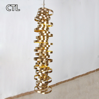 Stained glass modern chandeliers hotel restaurant art deco lamps