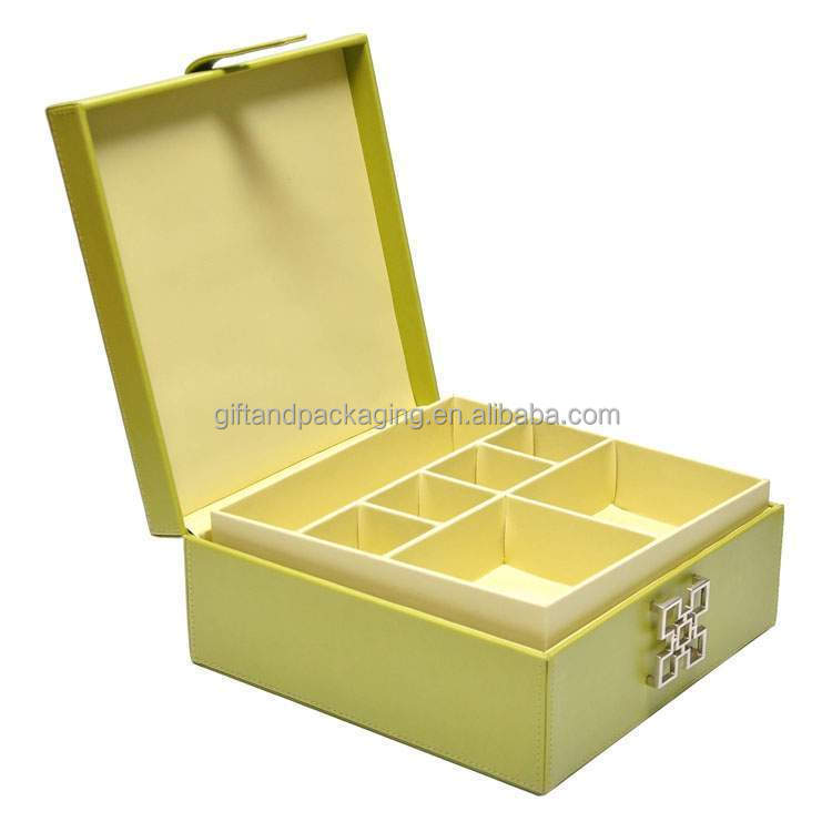 Brand new yellow cardboard ornaments box with special lock