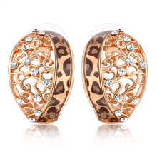 Latest enamel leopard crystal simple gold plated earring for women
