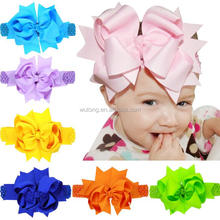 Oversized 8 Inch Double Layered Bow Hairbands Grosgrain Ribbon Bows Crochet Headband Large Bow Flower Girl Elastic Headbands